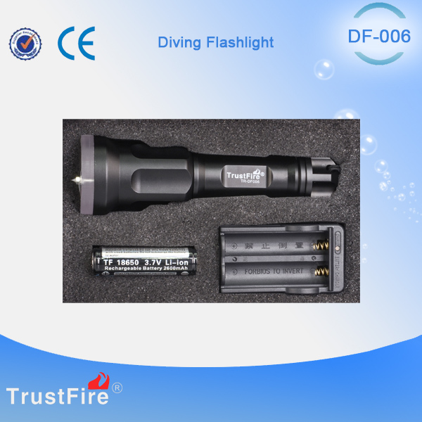 TrustFire DF006 underwater equipment,swimming accessories scuba Led diving flashlight,military grade self defence weapon