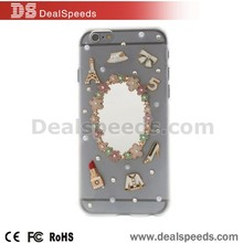 Mirror & Lipstick Rhinestone Back Cosmetic Case for iPhone 6 4.7 inch