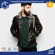 Hongxiong Hot Wholesale Custom Bomber Plain Zipper Worsted Collar Long Sleeves Fleece Black Men Used Leather Jackets