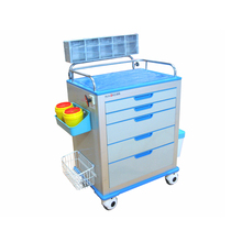 High quality steel frame hospital aluminum case drawers trolley