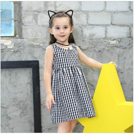 Wholesale Price Girl Cotton Clothing Dress Materials With Black White Stripes Baby Dress Girls