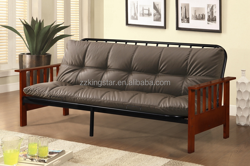 Sofa living room furniture folding metal sofa bed with wood post