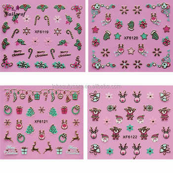 2018 Nailprof Fashion Gift Customized 3D Nail Sticker/catoon nail sticker/3d christmas nail decorations