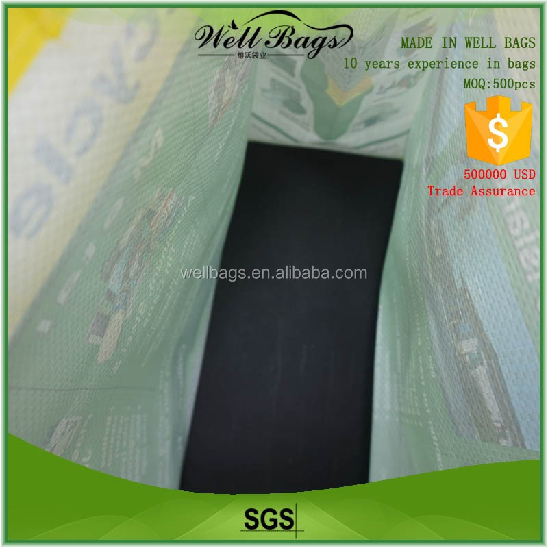 custom logo promotional laminated PP woven reusable grocery bag alibaba trade assurance
