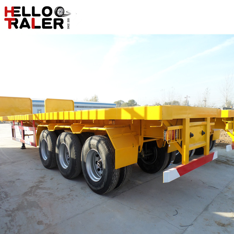 3 Axles Falt Bed Container Semi Trailer
