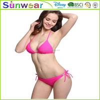 International brand 2016 Sexy push up Swimsuits for Women Two Pieces halter Bikini lingerie tie side Swimsuit set Swimwear