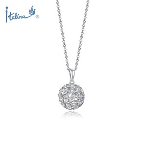 Fashion Jewelry Chain Manufacturer Wholesale Women Jewellery Geometric Round Ball Pendant Cubic Zirconia Stones Trendy Necklaces