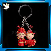cartoon soft pvc rubber silicone loop key chain