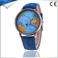 Map aircraft Colorful Jeans Casual Strap Women Men Dress Wristwatch Vintage Quartz Analog Watch Bracelet Quartz Wrist WatchLW050