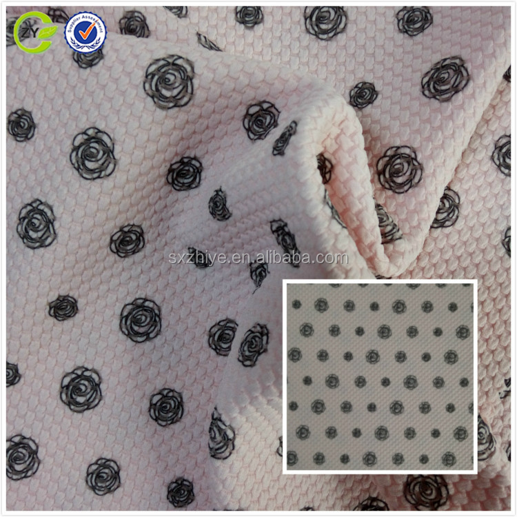 Shaoxing Ziye textile flower digital printing China wholesale keiqiao supplier knitted jacquard fabric for garments