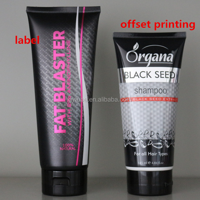 black squeezed plastic cosmetic packaging tube with flip cap