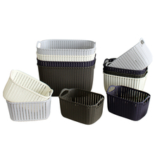 Toprank Household Multi-purpose Space Save Tray Plastic Storage Basket Rattan Storage Basket With Handle