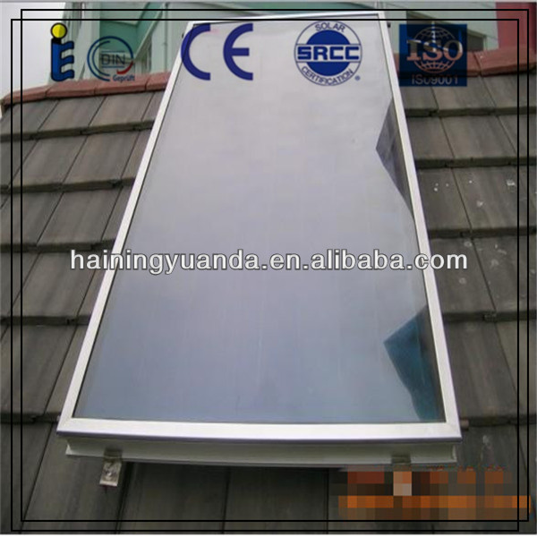 Flat plate solar collector for water heating system