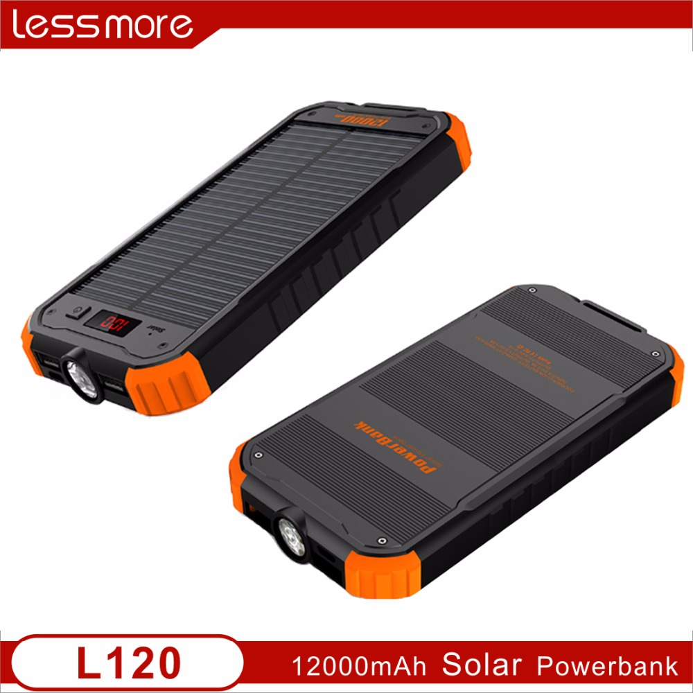 shenzhen supplier hot selling 2017 solar mobile phone charger 12000mah power bank LCD power show solar gadgets charging