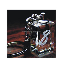 Blank crystal 3d laser engraving keychain /key holder /key rings for souvenir/gifts