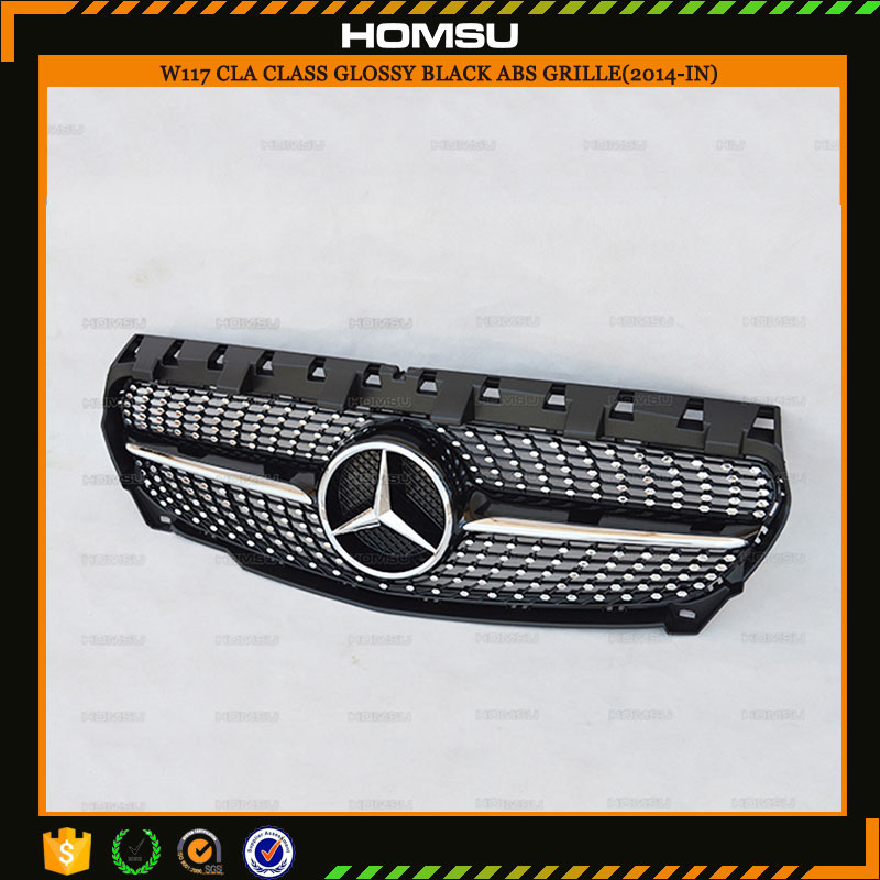 <strong>W117</strong> ABS Diamond Radiator Front Grille Grill for 2014+ Mercs CLA Class Silvery Gloss Black