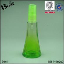 cheap fine trumpet shaped gradient green screw mouth plastic sprayer empty glass perfume bottle 30ml spray