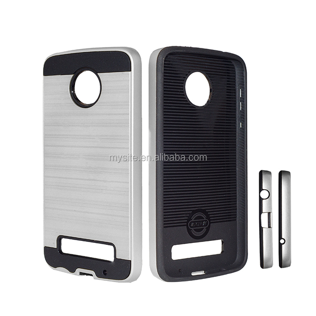 For moto z play Case Back Cover Brushed Hybrid TPU Phone case with ID Credit Card Slot for moto z play