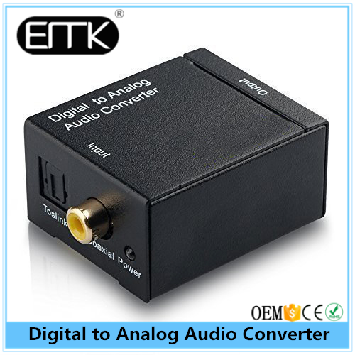 EMK Optical Coaxial Toslink Digital to Analog Audio Converter Adapter RCA L/R 3.5mm US Plug For Digital TV