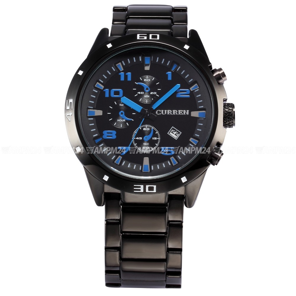 2015 CURREN Men Quartz-Watch Blue 3 Dial Auto Date Display Black Full Steel Band Military Male Wrist Watches Quartz Watch/CUR003