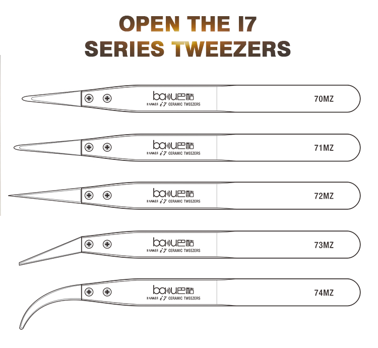 BAKU Change Ceramic Tip Tweezers i7 Electronic Equipment High-temperature Operation 1000 Degree Tweezer ba-i7