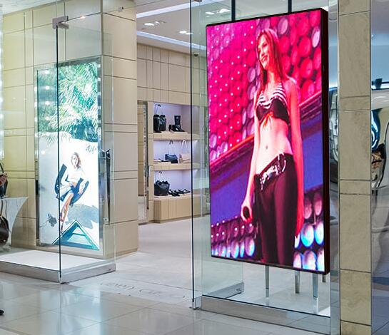 Ultra Brightness Indoor P5 Glass Wall LED Display Screen, Full Color Shop Window P5 P6 P10 LED Display for Sale