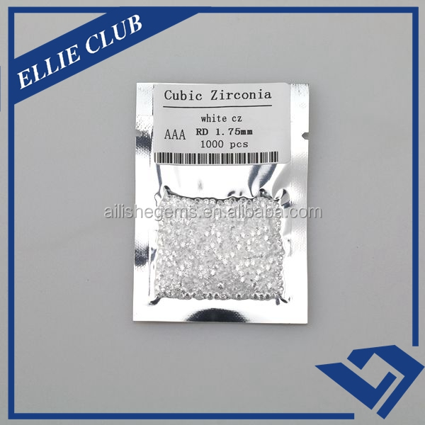 AAA/AAAAA star cut cubic zirconia wholesale white round 1.75mm CZ stones for jewelry