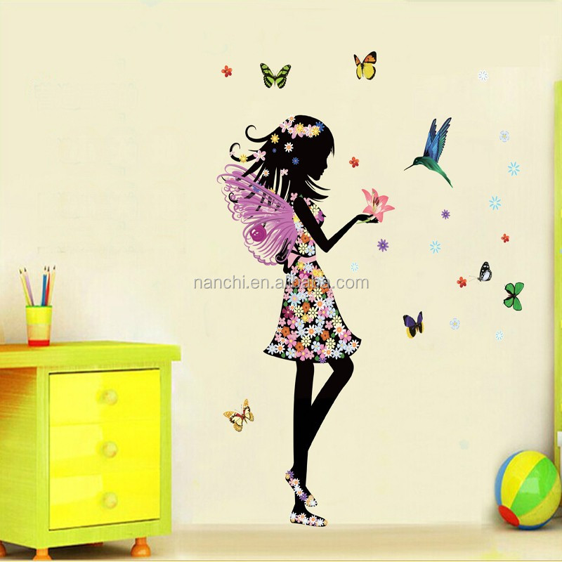 Cartoon Angel Wings Flower Fairy Wall Sticker Beautiful Girl Butterfly DIY Wall Decals Mural Decal Kids Room Home Decor