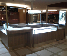 Bespoke high-end luxury wood grain custom mall jewellery case kiosk