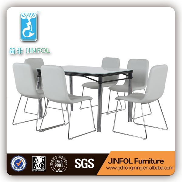10mm terpered glass dining table leather chairs dining room table sets CT311 & CY311