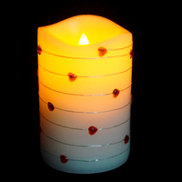 Multi-color and sizes love flameless led pillar scented electric candle with led strings