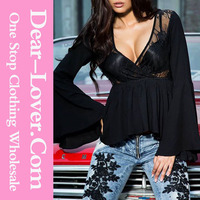 Fashion stylish new design sexy women ruffled black lace bell sleeves blouse