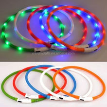 Rechargeable USB Waterproof LED Flashing Light Band Belt Safety Pet USB Dog Collar