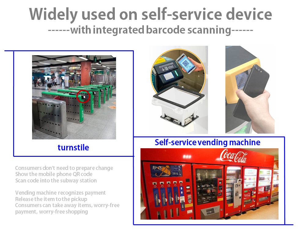 2D barcode embedded scanner  module for kiosk