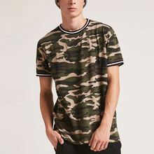 guangdong clothing short sleeve striped rib trim custom printing camouflage t shirt
