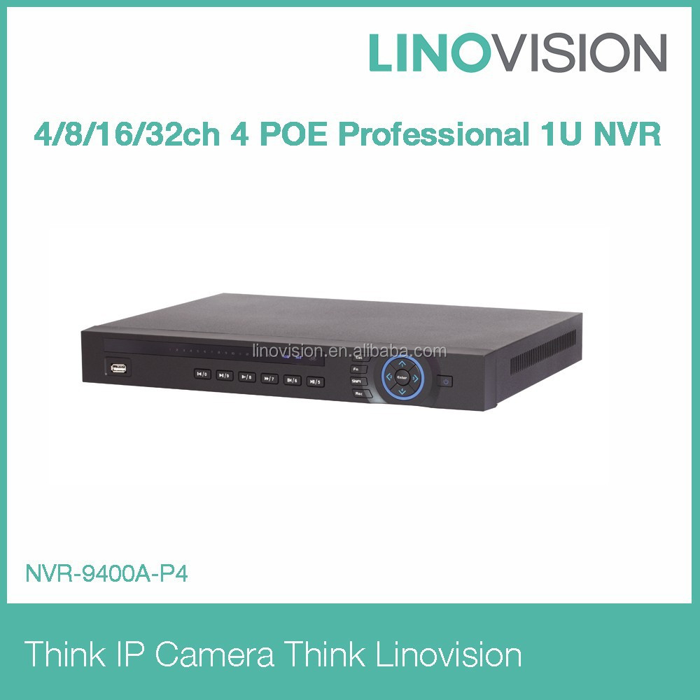 4/8/16/32 channel 4 POE Professional 2HDD 1U NVR working perfectly with Dahua IP camera