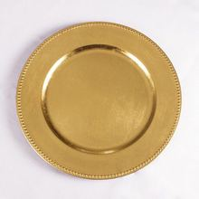 Wholesale cheap wedding decoration Simple gold plastic charger <strong>plates</strong>