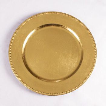 Wholesale cheap wedding decoration Simple gold plastic charger plates