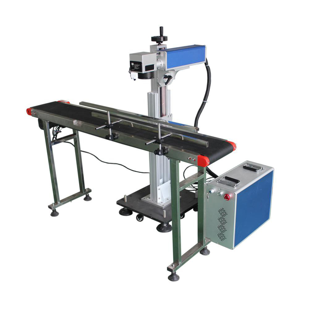 Flying type fiber laser marking machine 30w 50w with Raycus laser source for Pen bottles logo produce <strong>date</strong> marking