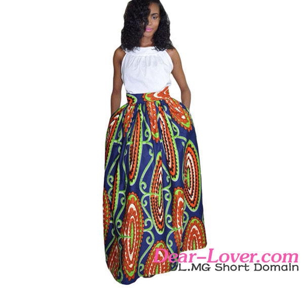 New Stylish Abstract Floral Long African Print Navy Maxi Skirts