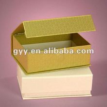 Bright Gold Foil Rigid Cotton Filled Set Up Box with magnet closure