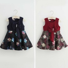 Tav1087New autumn children dress flower wool kids dress with bowknot