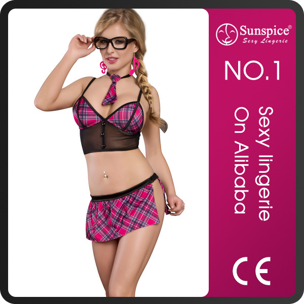 2015 Sunspice Hot sale china manufacture japan naughty nude women sexy lingerie school costume with hook eye back closure