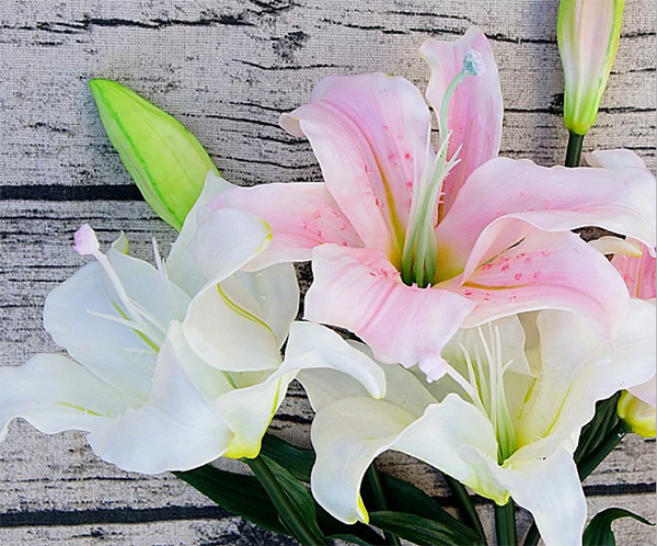 2017 new style latex flower artificial real touch lily for wedding