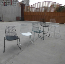 Wire chair replica steel frame PU seat metal restaurant Bend Lucy chair