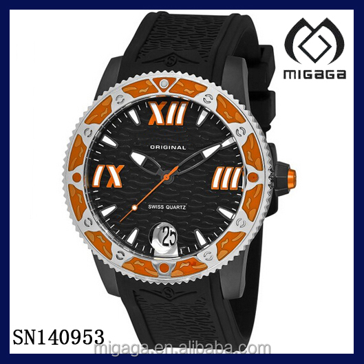 Original Men's Quartz Date Orange Watch Black rubber strap-Date display rubber strap orange bezel men's sporty watch