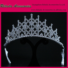 Factory Wholesale Elegant Sparking clear full crystal rhinestoe round crown tiara with silver plated metal hair ornaments bridal