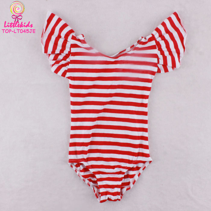 Children Gymnastics Leotard Red White Stripes Ruffle Sleeve Girls Leotards For Sale