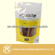 Plastic laminate stand upright packaging bag for beef stick