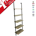 Steel-Wood Composite Leaning Ladder Metal Book Shelf With Mdf Plate For Sale